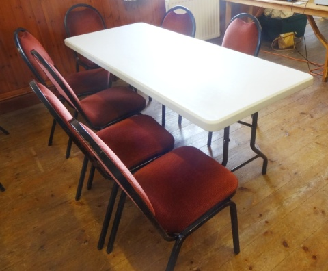 One of the ten new lightweight long tables